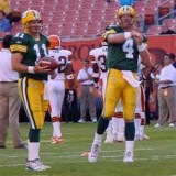 Billy Joe Tolliver with Brett Favre and the Green Bay Packers