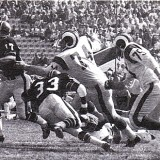 Merlin Olsen and Deacon Jones force Falcons QB Bob Berry out of the pocket