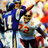 Dan Fouts under pressure from Dexter Manley