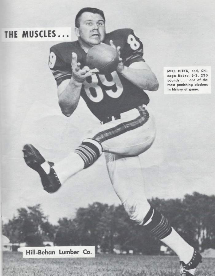 Mike Ditka as a Tight End for the Chicago Bears in 1964