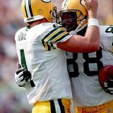 Brett Favre and Tight End Keith Jackson Celebrate