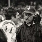 Vikings quarterback Joe Kapp and Head Coach Bud Grant on sidelines