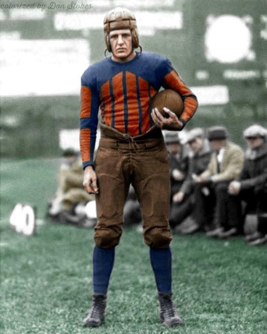A beautifully done color photo of football's Red Grange