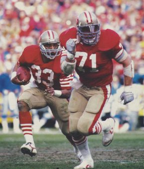 Roger Craig and Keith Fahnhorst of the San Francisco 49ers