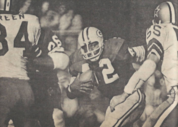 Packers Fullback John Brockington carries against Dallas in 1972