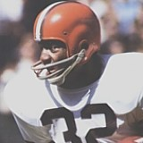 Hall of Fame NFL Running Back Jim Brown played for the Cleveland Browns from 1957-1965