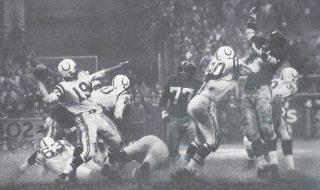 Photo from the Man in Sport Photo Exhibit | Johnny Unitas going against the Giants in the 1958 NFL Championship