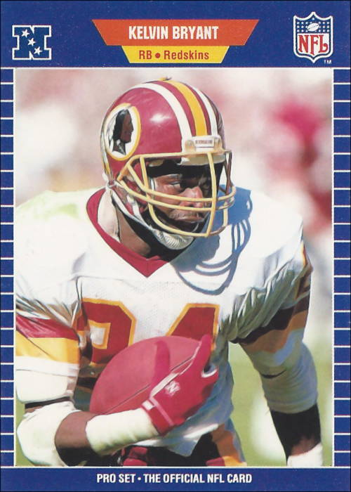 Kelvin Bryant 1989 Washington Redskins Pro Set Football Card