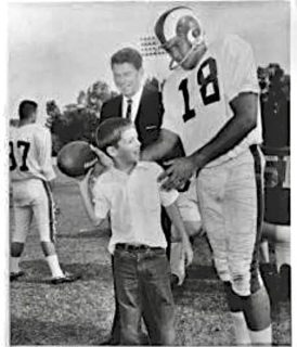 Ram QB Roman Gabriel & Ronald Reagan with a Young Rams Fan