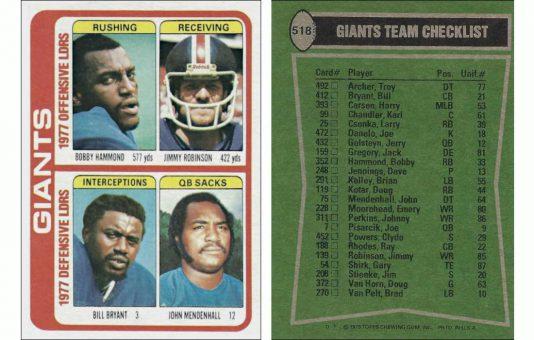 1977 New York Giants Team Leaders Topps Card #518