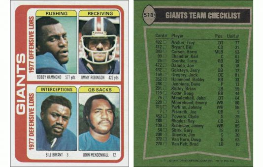 1977 New York Giants Team Leaders Topps Card #518