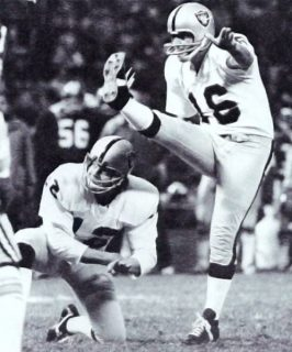 George Blanda Kicking as Kenny Stabler Holds in 1975