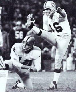 George Blanda Kicking as Kenny Stabler Holds in 1975