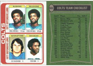 The 1977 Baltimore Colts Team Leaders | 1978 Topps NFL Card #502